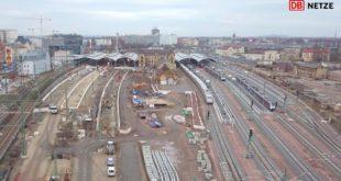 Halle Hauptbahnhof, Westseite - Baufortschritt Anfang 2019