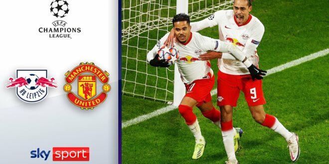 Leipzig sichert sich die KO-Runde im 5-Tore-Thriller |  RB Leipzig - Manchester United 3: 2 |  Höhepunkte